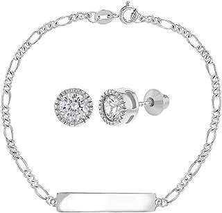 925 Sterling Silver Clear CZ Cute Jewelry Set Screw Back Earrings Bracelet Girls