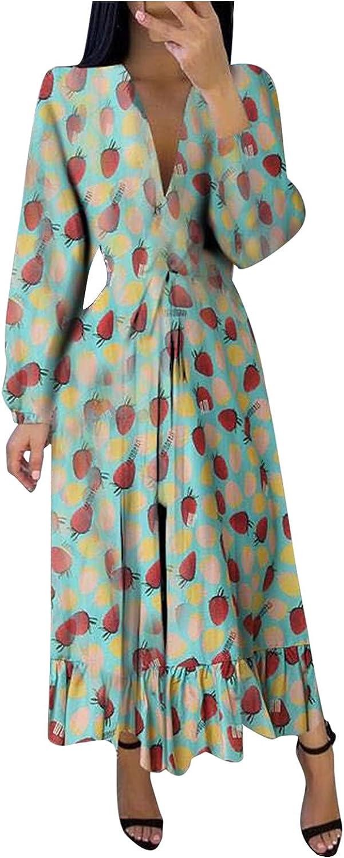 SHOPESSA Women's Long Sleeve Maxi Dress Elegant Swing Printed High Waist V Neck Dress Party Club Outfits
