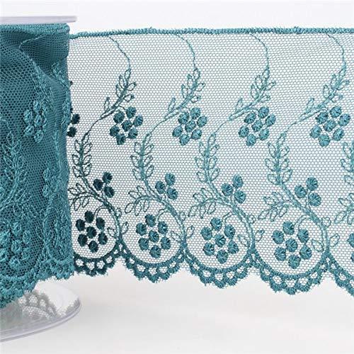 M & C - Bobina de Tul Bordado de Flores de 84 mm, Color Azul Pato