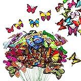KATELER 80 estacas de mariposa de jardín y adornos de mariposa, impermeables, decoración de mariposas para interiores y exteriores, patio, maceta, cama de flores, decoración de Navidad