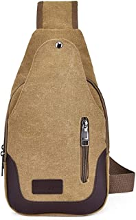 DIEBELLAU Bag New Men's Chest Bag Canvas Bag Casual Simple Shoulder Bag Chest Small Backpack Casual Pockets (Color : Khaki)