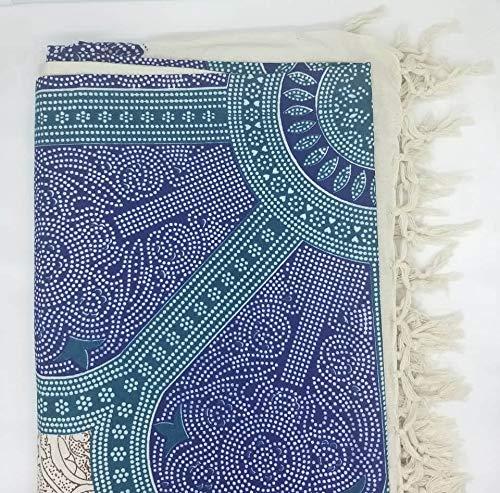 Goodforgoods Decoración de Mandala y Elefantes para la Playa, Piscina, tapicería Cubre Sofa, Mesa sillón, decoración Pared. 100% algodón 210x240 cm. (Turquesa y Azul, 210x240 cm)