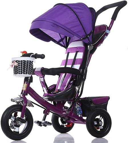 BZEI-BIKE Dreirad Kinderwagen fürrad Kind Spielzeug Auto Titan Rad Schaum Rad fürrad 3 R r, Lila Faltbar    Kinderspielzeug