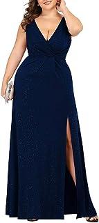 Ever-Pretty Women's V-Neck Glitter Dress Side Split Plus Size Evening Dress 7505-PZ