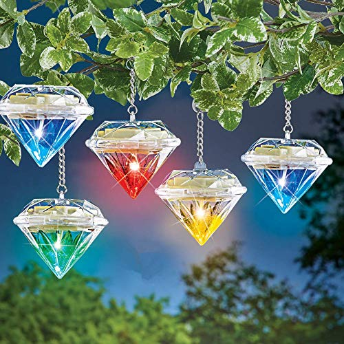 cuzile 5Pack Outdoor Solar Hanging Lights 7 Color Changing Diamond Lamp Jar Lights LED Decorative Waterproof for Patio, Garden,Tree,Walkway,Lawn,Yard,Fence Deck Decoration