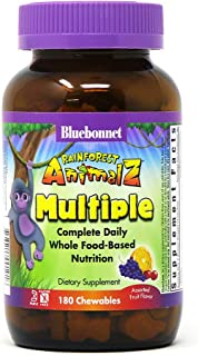 Bluebonnet Nutrition Rainforest Animalz Whole Food Based Multiple Chewable Tablet, Kids Multivitamin & Mineral, Vitamin C,...