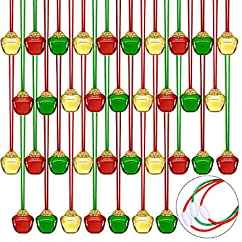 Aneco 36 Pack Christmas Bell Necklaces Holiday Jingle Bell Necklaces Toys with Safety Connect Catch Ribbons for Christmas Favor…