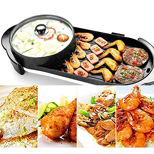CHOME Parrilla Raclette The Electric Barbecue Hot Pot Maifan Stone Multifunción y Hot Pot Table Grill y Fondue con Revestimiento de cerámica 1500W
