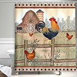 Modern Farmhouse Bathroom Shower Curtain, Sweet Farm Chicken Country Animals Rooster on Vintage Shabby Chic Wooden Bath Curtain, Western Texas Star Barn Garage Shower Curtains with Hooks, (69X70in)