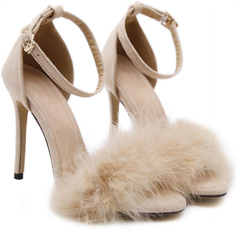 Kirabon Women's High Heel Sandals Fur Open Toe High Heel Sandals (color   Aprikosen, Size   37)