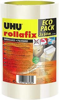 UHU Rollafix verpakkingstape, hoogwaardige verpakkingstape, transparant, 3 x 50 m