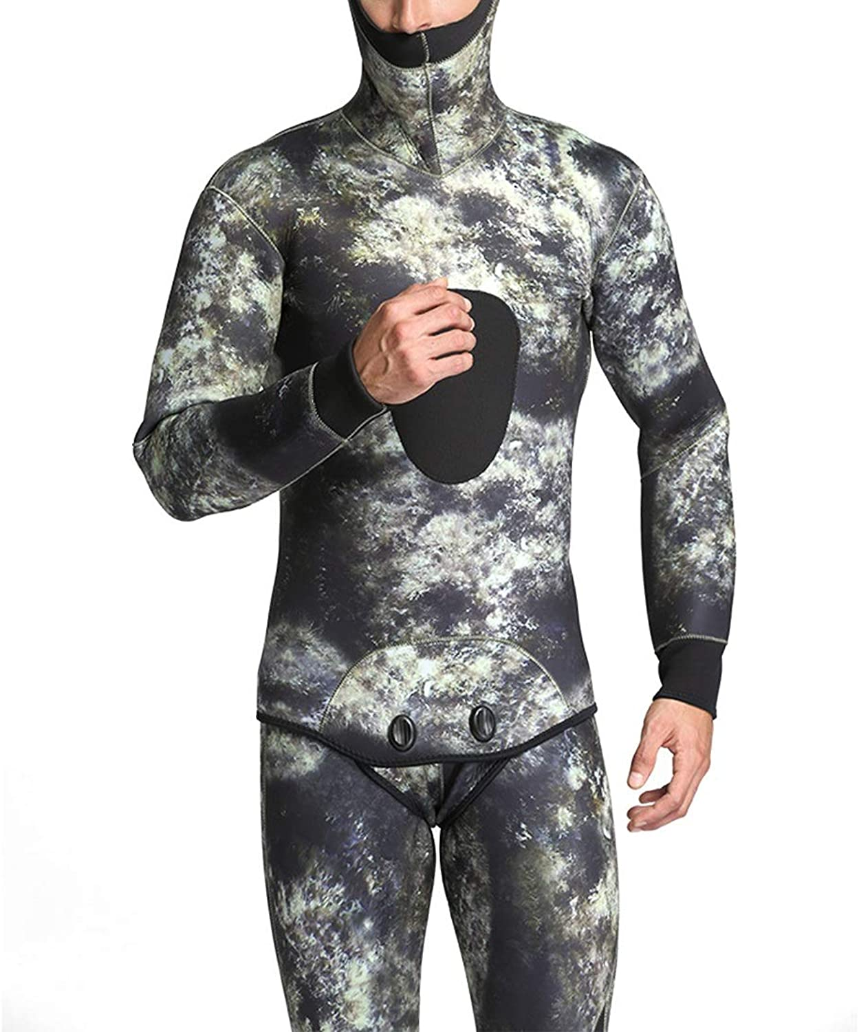 KERVINJESSIE Wetsuit Men's Swimwear Diving Surfing Camouflage Clothes Sunscreen Sweat-Absorbent Quick-Drying Cold Insulation Long-Sleeved (color   2, Size   XL)