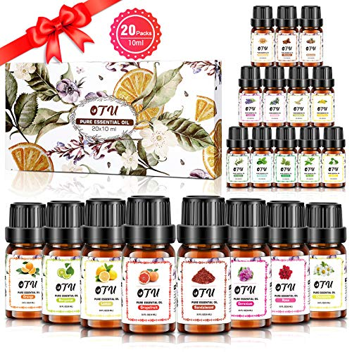 Essential Oils Set - 100% Pure Therapeutic Grade Oils kit- Top 20 x 10ML Aromatherapy Oils Gift Set-20 Pack, Aromatherapy...