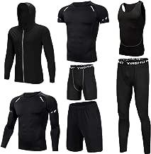 Huangxiaofang Trainingskleidung für Herren Compression Tight Pants 3er Pack Tshirt 2er Pack Shorts 7 Stück Herren Herren Trockenkompression Set mit Outwear für Radfahren Laufen Gym Fitness
