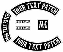 6 Pack Custom Embroidered MC Biker Patches, Personalized Embroidery Rocker Patch Rider Motorcycle Patches Back Name Patch Appliqued/Iron-on/Sew-on Veterans Jacket(Black Fabric+White Text+White Border)