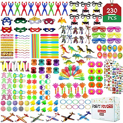 Party Favors for Kids Toy Assortment Set,Include 230PCS Carnival Prizes and School Classroom Rewards,Pinata Filler Toys for Kids Birthday Party,Bulk Toys Treasure Box for Boys and Girls