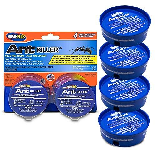Home Plus Ant Killer (4-Pack), Metal Ant Traps Indoor & Outdoor, Ant Bait Station, Pet Resistant Ant Killer, Effective Ant Control System