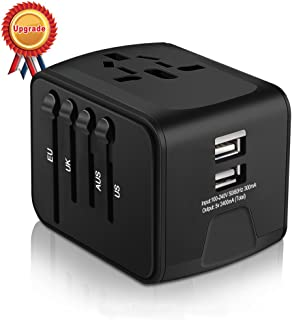 Universal Travel Adapter, HAOZI All-in-one International Power Adapter with 2.4A Dual USB, Europe Adapter Travel Power Adapter Wall Charger for UK, EU, AU, Asia Covers 150+Countries (Black)