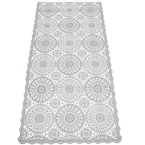 KERSTEN Tischläufer abwischbar wetterfest 'Crochet', 40 x 150cm, Grau