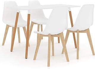 WooDlan Juego de 4 sillas de Comedor con Respaldo y Patas de Metal Resistente de Estilo de Madera para salón, Sala de Estar, Cocina, Oficina y Restaurante, Blanco, 42 x 42 x 83 cm