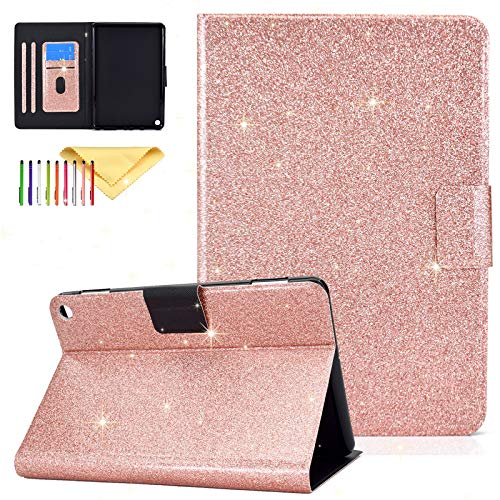 Uliking Case for All-New Kindle Fire HD 8 and Fire HD 8 Plus Tablet (10th Generation, 2020 Release), Bling Sparkle Premium PU Leather Stand Cover with Auto Wake/Sleep Smart Cover, Rosegold