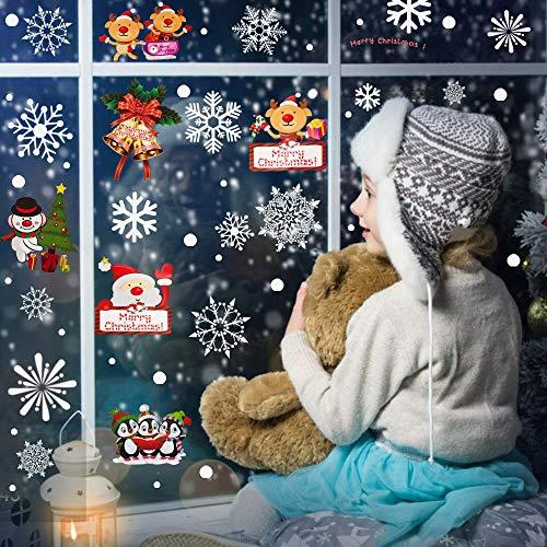PERFETSELL 4 Pegatinas Navideñas para Ventanas Pegatinas de Navidad para Cristales Pegatinas...
