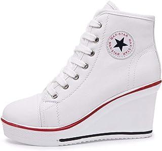 QIMAOO Sneakers Zeppa Donna Canvas Sneaker Donna Scarpe con Tacco con Zeppa Scarpe da Ginnastica Sportive Fitness Sneakers...