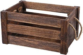 Bestonzon Decorative Wooden Storage Crates Farmhouse Rustic Wood Boxes Kitchen Storage Displays Box Wood Planter for Home ...