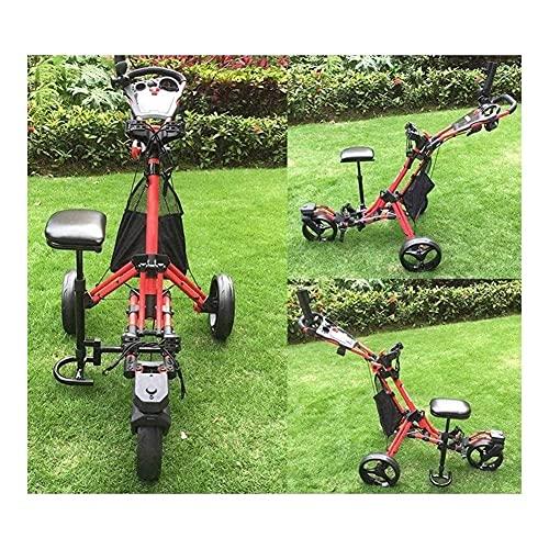 Carrito de golf Carrito de golf de empuje y tracción de 3 ruedas Carrito de carrito de empuje y tracción plegable con soporte para paraguas Freno de pie Asiento Marcador Un clic Abrir y cerrar Carrito
