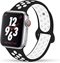 Ahker for Apple Watch Band 38mm 40mm 42mm 44mm, Breathable Sport Strap,Soft Silicone Sport Band Replacement Wrist Strap Compatible for iWatch Series 4, Series 3/2/1 (Black White, 42mm/44mm)