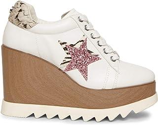 حذاء رياضي بكعب وتدي ورباط للسيدات من Steve Madden أبيض متعدد الألوان