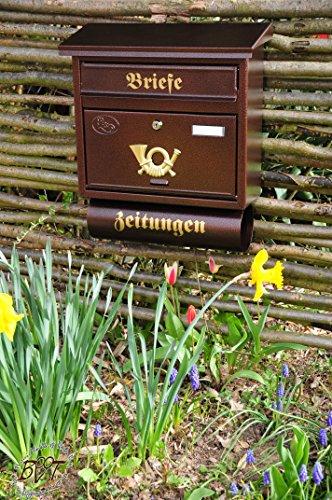 BTV Briefkasten, mit Rostschutz FG/c groß in Kupfer kupferbraun braun Zeitungsfach Zeitungen Post antik Mailbox Schild