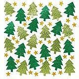 Baker Ross Autocollants sapins de Noël et étoiles en Mousse pailletée (Lot de 100) - Loisirs créatifs et décorations de Noël pour Enfants