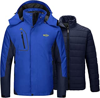 Wantdo Men's 3 in 1 Puffer Liner Ski Jacket Waterproof Rain Snow Warm Winter Coat