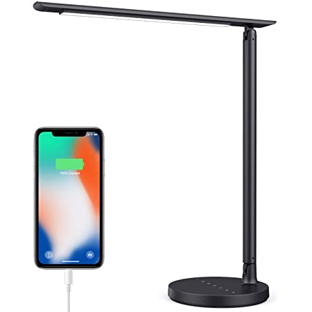 iPosible Lampe de Bureau LED 36 LED 23W Lampe de Table Protection des Yeux 7 Niveaux de Luminosité Réglable Lampe de Lecture Contrôle Tactile Lampe de chevet avec USB Port pour charger Smartphone