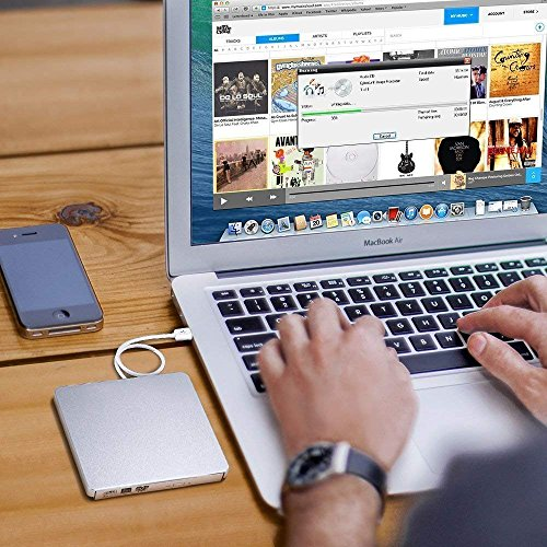 YAHE External DVD Drive,USB 2.0 Slim Portable External CD/DVD-RW Player/Writer/Burner for Apple MacBook, Laptops, Desktops, Notebooks. (Silver)
