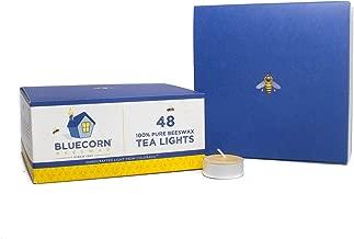 Bluecorn Beeswax 100% Pure Beeswax Tea Lights - Metal Cups (48-Pack, Raw)