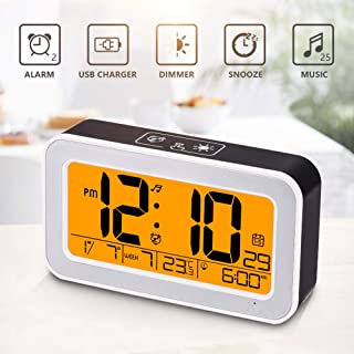 Music Alarm Clock, Digital Clock for Bedroom with Dimmer, Snooze,USB Rechargeable Clock with Dual Alarm, Smart Touch Backlight,Adjustable Alarm Volume