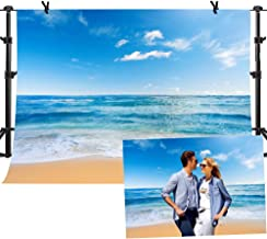 MME Beach Photography Backdrops Sea Blue Sky Background Polyester 10X7ft Summer Photo Background for Studio GEME749