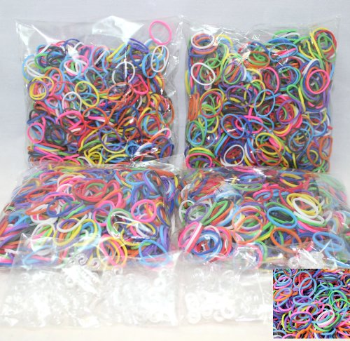Bluedot Trading 2400 Piece Multi-Color Rubber Band and S-Clips Loom Art and Craft Kids Rainbow Bracelet Refill Pack