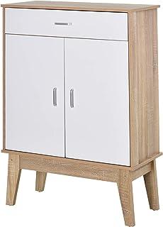 HOMCOM Gabinete de Almacenamiento Consola Armario para Baño Cocina Dormitorio con 3 Estantes Ajustable 1 Cajón 2 Puertas 8...