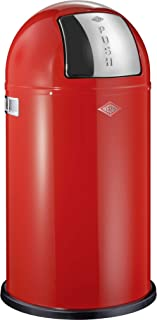 Wesco Pushboy - German Made - Push Door Trash Can, Powder Coated Steel, 13.2 Gallon / 50L , Red