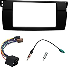DKMUS Dash Installation Trim Kit for BMW 3 Series E46 1998-2006 Facia Double Din Radio Stereo DVD with Wiring Harness Antenna Adapter