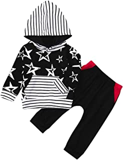 Winsummer 2Pcs Halloween Newborn Baby Boys Girls Outfits Long Sleeve Letter Hoodie Tops + Stripe Pants Clothes Set