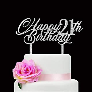 Happy 21th Birthday Cake Topper, Happy 21 Cake Topper, 21th Bday Decorations, Cheers to 21 Years Cake Topper, Forever 21 P...
