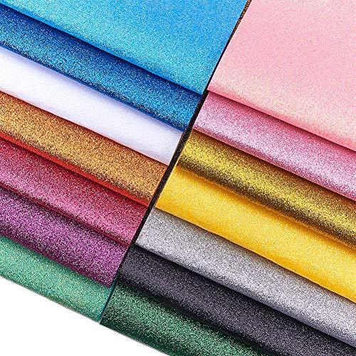 SUNNYCLUE 14 Colores Glitter Fabric Fieltro Hojas de Fieltro