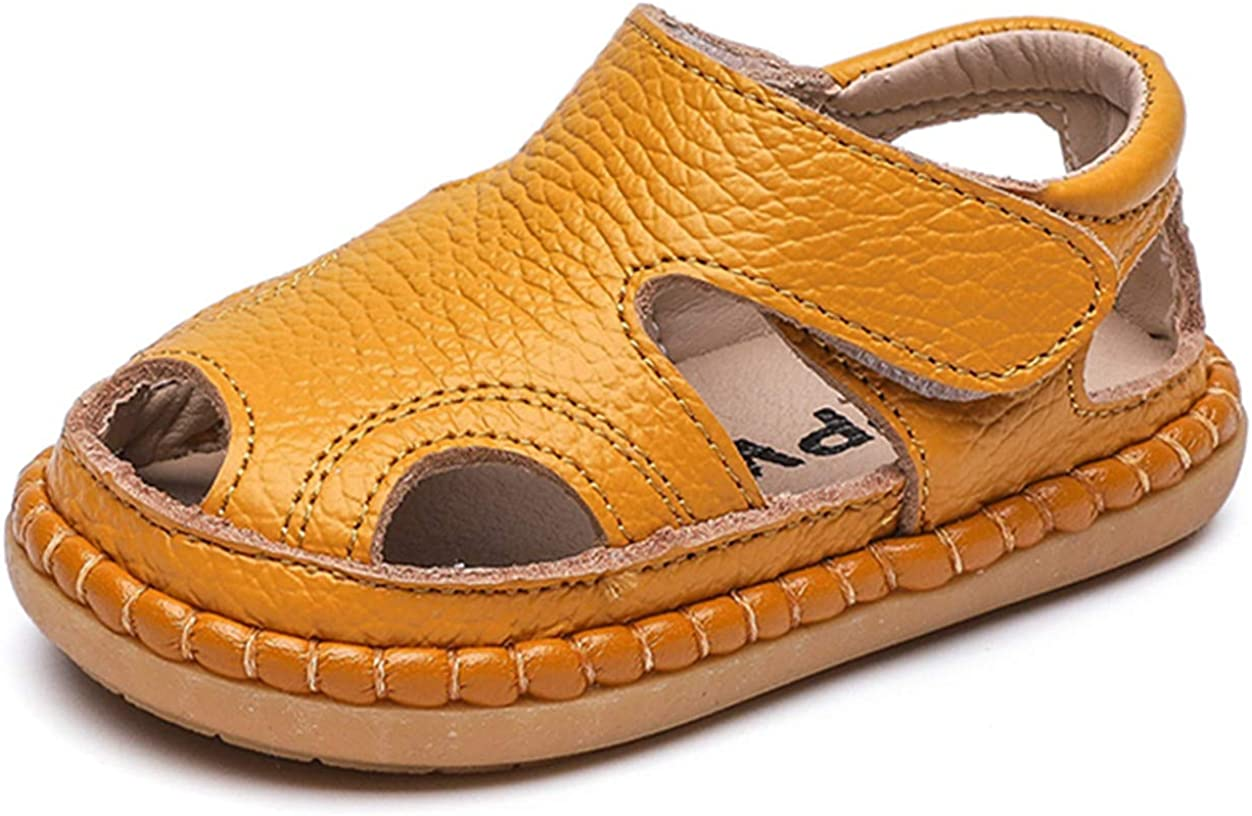 DADAWEN Baby Boys Girls Summer Lightweight Soft Sole Closed-Toe Outdoor Leather Athletic Sandals