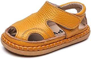 Baby Boys Girls Summer Soft Sole Closed-Toe Outdoor Leather Athletic Sandals