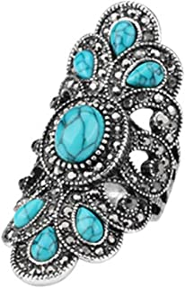 MARRLY.H Luxury Antique for Women Vintage Look Blue Resin Jewelry Bohemian Silver Color Inlay AAA Gray Crystal Charm Punk Ring