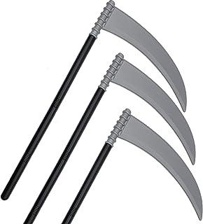 Alpurple 3 Packs Halloween Skeleteen Grey Death Scythe Staff - Grim Reaper Death Costume Accessories Weapon Scythe Prop